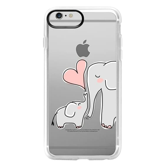iPhone 6 Plus Cases - Mom and Baby Elephant Love - Pink Heart