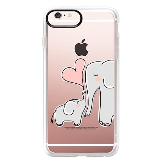 iPhone 6s Plus Cases - Mom and Baby Elephant Love - Pink Heart