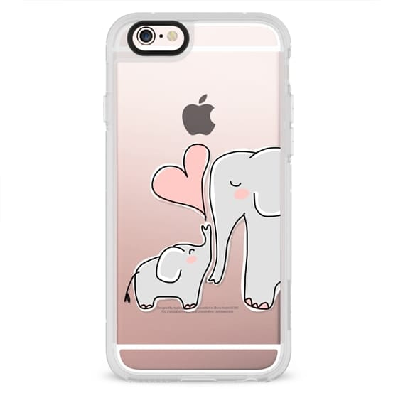 iPhone 4 Cases - Mom and Baby Elephant Love - Pink Heart