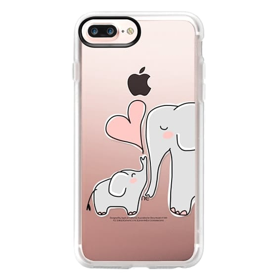 iPhone 7 Plus Cases - Mom and Baby Elephant Love - Pink Heart