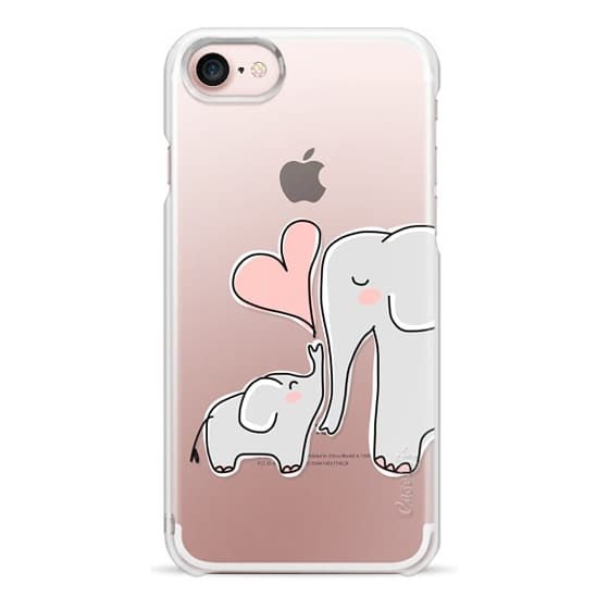 iPhone 7 Cases - Mom and Baby Elephant Love - Pink Heart