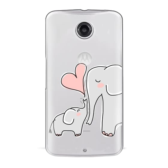 Nexus 6 Cases - Mom and Baby Elephant Love - Pink Heart