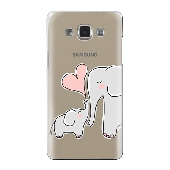 Samsung Galaxy A5 Cases - Mom and Baby Elephant Love - Pink Heart