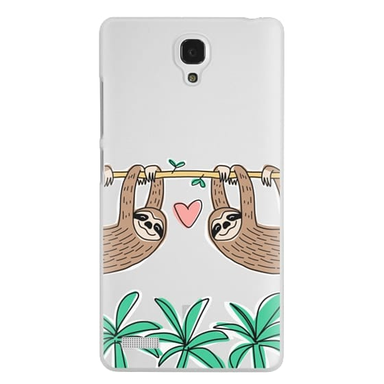Redmi Note Cases - Sloth Couple - Tropical Animal - Love - Pink Heart