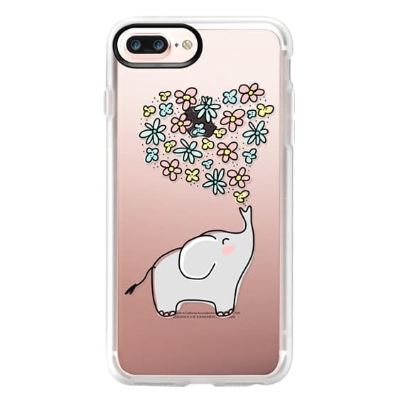 iPhone 7 Plus Cases - Elephant - Flowers Heart - Floral Love