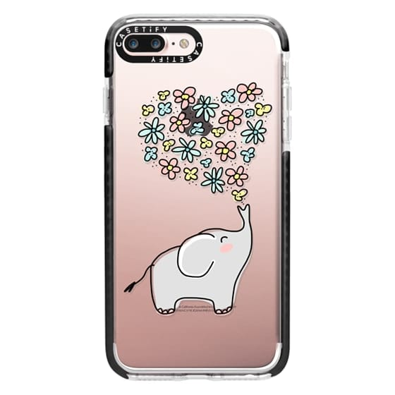 iPhone 7 Plus Cases - Elephant - Flowers Heart - Floral Love