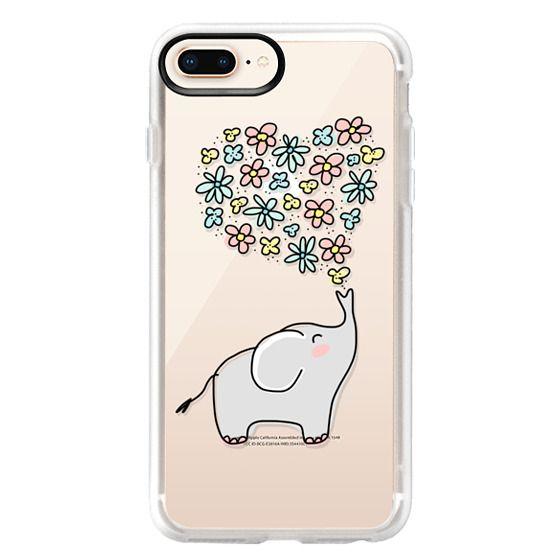 iPhone 8 Plus Cases - Elephant - Flowers Heart - Floral Love