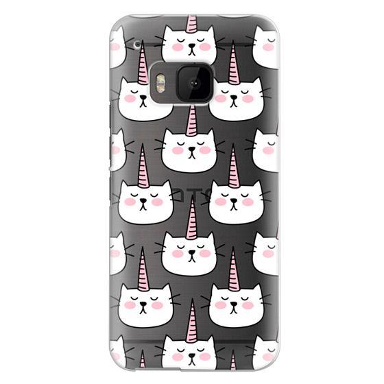 Htc One M9 Cases - Caticorn Cat Unicorn Pattern - White Pink Black - Transparent