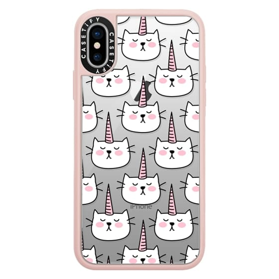 iPhone X Cases - Caticorn Cat Unicorn Pattern - White Pink Black - Transparent