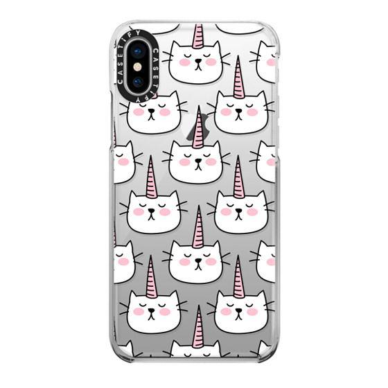 iPhone X Cases - Caticorn Cat Unicorn Pattern - White Pink Black - Transparent