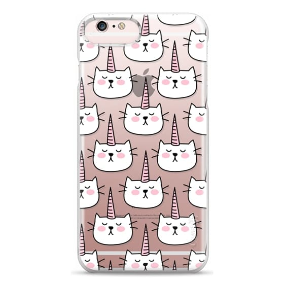 iPhone 6s Plus Cases - Caticorn Cat Unicorn Pattern - White Pink Black - Transparent