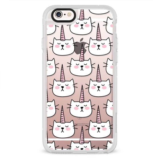 iPhone 4 Cases - Caticorn Cat Unicorn Pattern - White Pink Black - Transparent