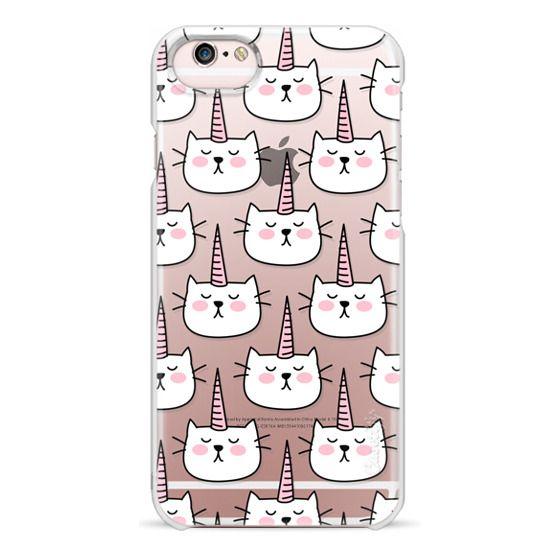 iPhone 6s Cases - Caticorn Cat Unicorn Pattern - White Pink Black - Transparent