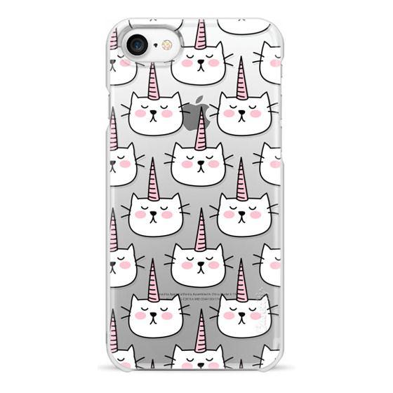 iPhone 7 Cases - Caticorn Cat Unicorn Pattern - White Pink Black - Transparent