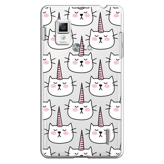 Optimus G Cases - Caticorn Cat Unicorn Pattern - White Pink Black - Transparent