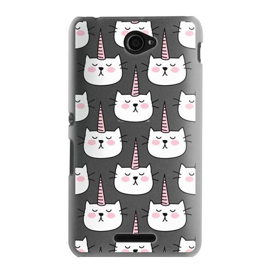 Sony E4 Cases - Caticorn Cat Unicorn Pattern - White Pink Black - Transparent