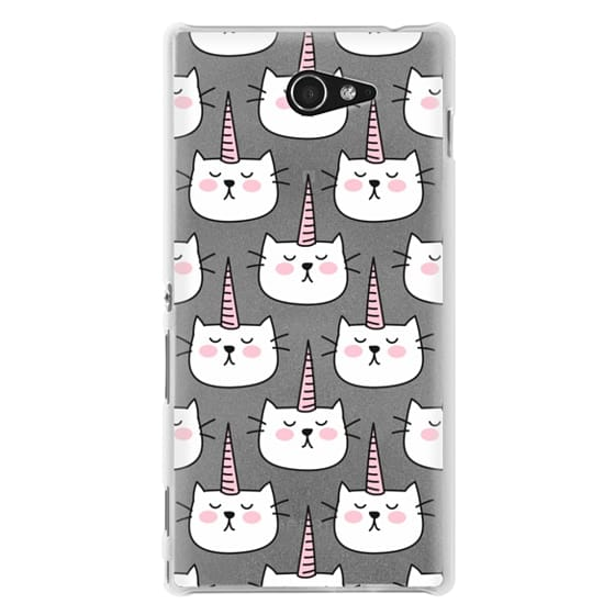 Sony M2 Cases - Caticorn Cat Unicorn Pattern - White Pink Black - Transparent