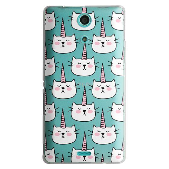 Sony Zr Cases - Caticorn Cat Unicorn Pattern - White Pink Black - Transparent