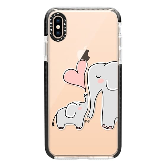 iPhone XS Max Cases - Mom and Baby Elephant Love - Pink Heart