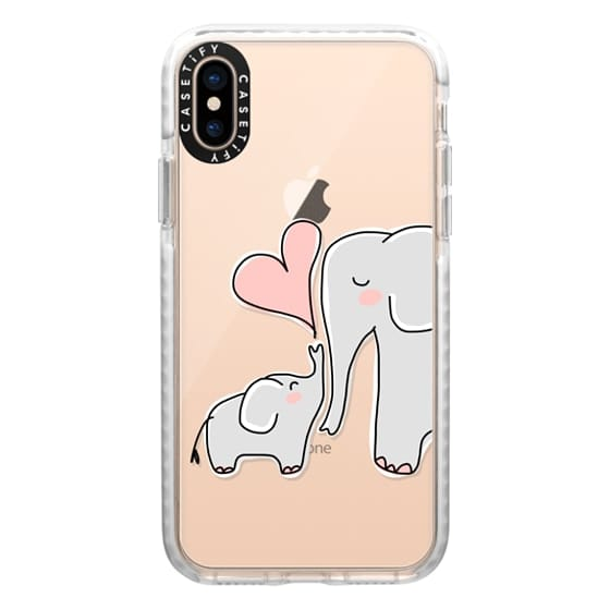 iPhone XS Cases - Mom and Baby Elephant Love - Pink Heart