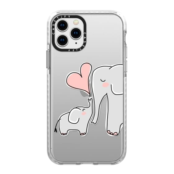 iPhone 11 Pro Cases - Mom and Baby Elephant Love - Pink Heart