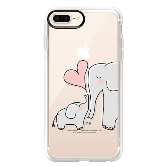 iPhone 8 Plus Cases - Mom and Baby Elephant Love - Pink Heart