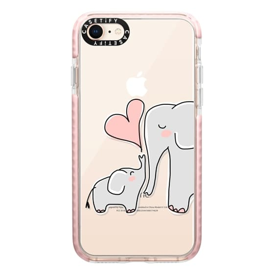 iPhone 8 Cases - Mom and Baby Elephant Love - Pink Heart