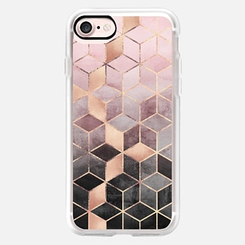 iPhone Case -  Pink Grey Gradient Cubes